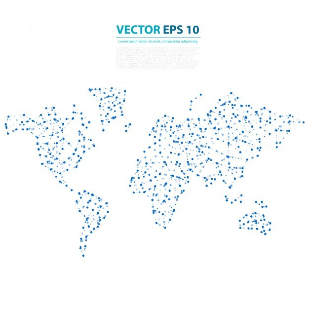 Vector Abstract Telecommunication Earth Map