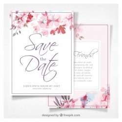 Watercolor wedding invitation with flowers