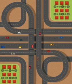 Aerial scene with roads and cars