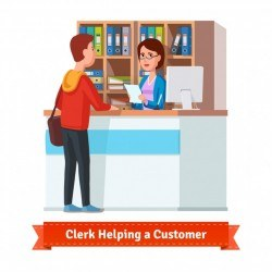 Assistant clerk working with customer