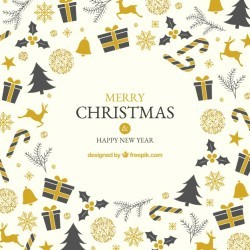 Background with black and golden christmas elements