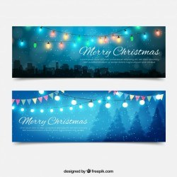 Beautiful banners with christmas lights