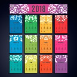 Calendar 2018 – Vintage decorative elements