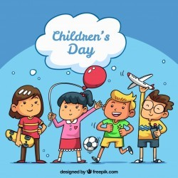 Childrens day concept with happy kids