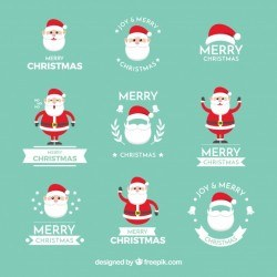 Christmas labels with fun santa claus