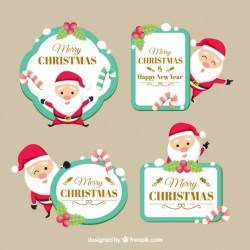 Christmas labels with lovely santa claus