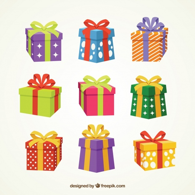 Collection of gift box with bow