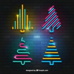 Collection of neon christmas trees
