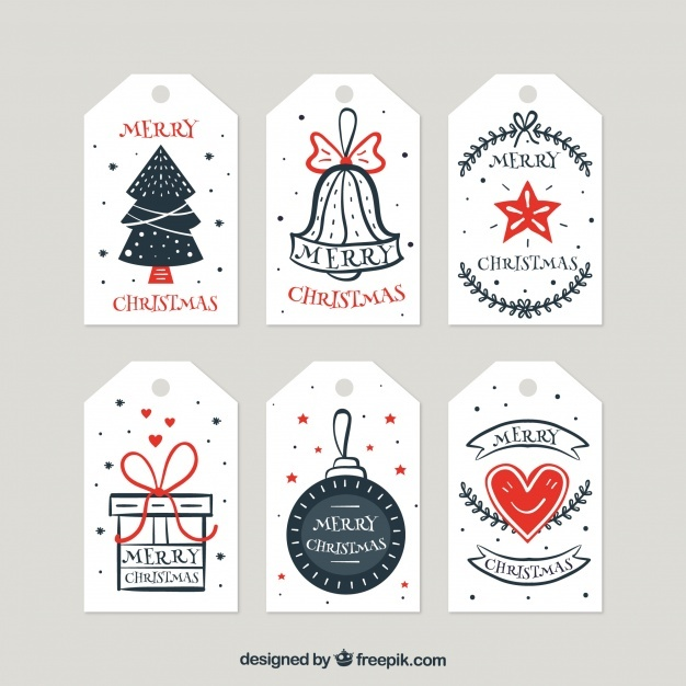 Collection of retro hand drawn christmas tags