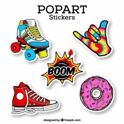 Colorful set of retro stickers