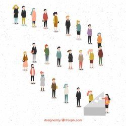 Flat people forming a line