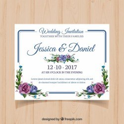 Floral wedding card with modern frame