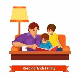 Happy family reading together. Mother, father