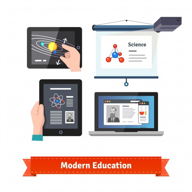 Modern technology in education flat icon set