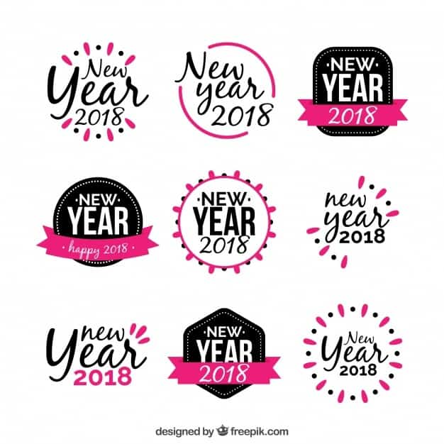 New year sticker in black and pink