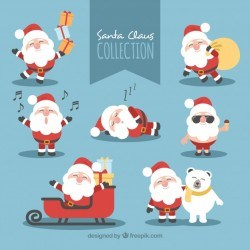 Nice santa claus in different poses