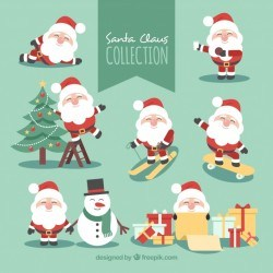 Pack of santa claus characters in different poses