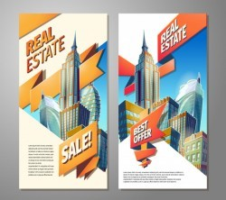 Set of advertising posters for sale of real estate