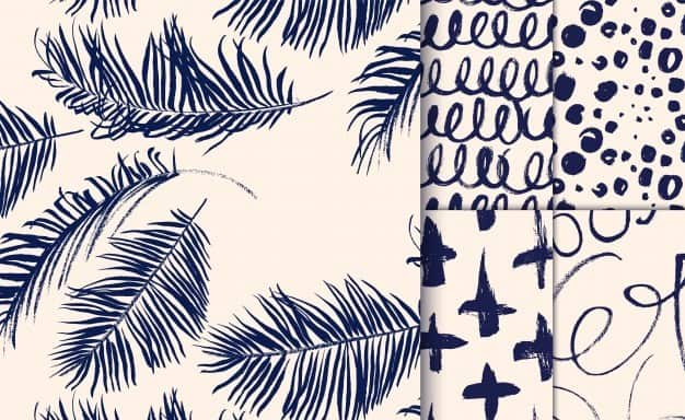 Set of blue patterns drawn with dry brush