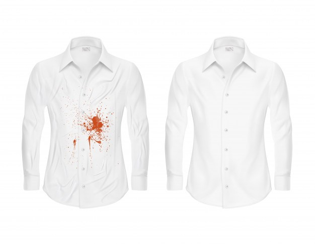 Set of vector illustrations of a white shirt with a red spot and clean, before and after a dry-c ...