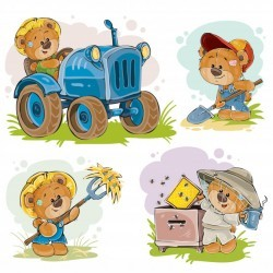 Set of vector illustrations of teddy bears tractor driver, beekeeper, farmer