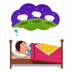 Teen boy trying to sleep counting jumping sheep