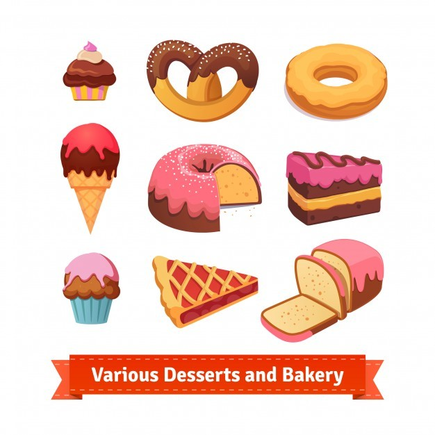 Various desserts and bakery