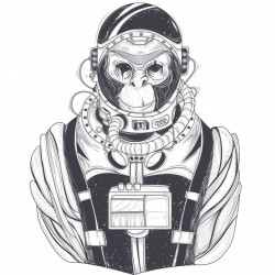 Vector hand drawn illustration of a monkey astronaut, chimpanzee in a space suit