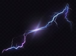 Vector illustration of a realistic style of bright glowing lightning isolated on a dark, natural ...