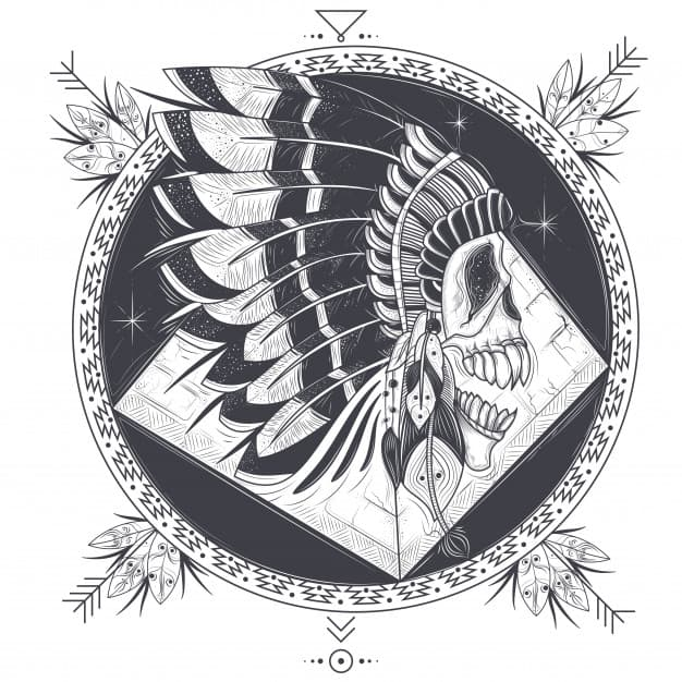 Vector illustration of a template for a tattoo with a human skull in an indian feather hat.