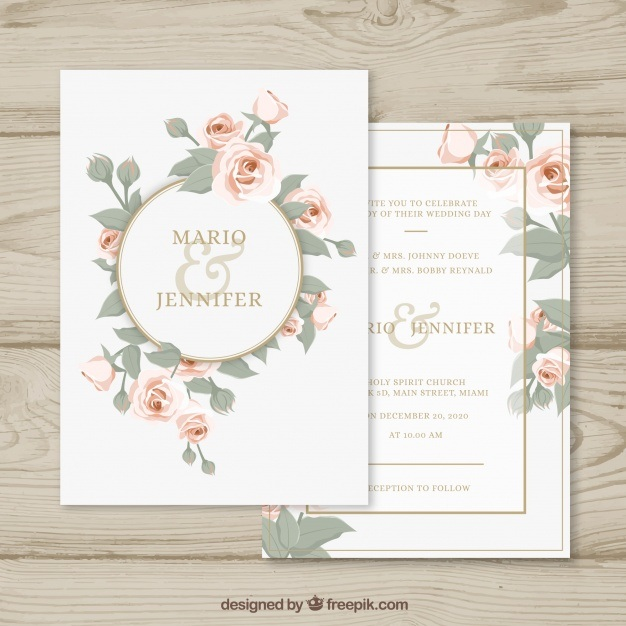 Wedding invitation with floral circle