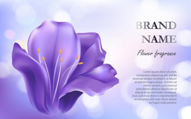Cosmetic background with a purple flower