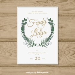 Elegant wedding invitation with leaves