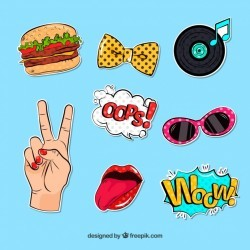 Fun stickers with pop art style