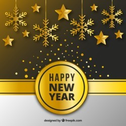 Golden new year background with flat design