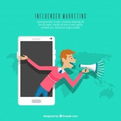 Influence marketing concept with man in smartphone