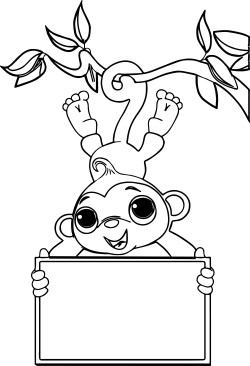 Zoo Free Sock Monkey Coloring Page