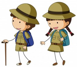 Boyscout and girlscout in brown uniform