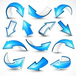 Blue shiny arrow vector