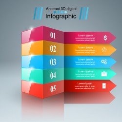 abstract 3d infographic colored vector