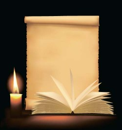 Old paper and candle with book vector background