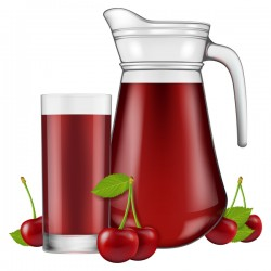 Cherry juice with glass cup vectors