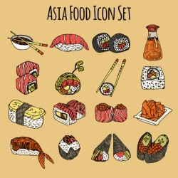 Asia Food Icon Set Colored