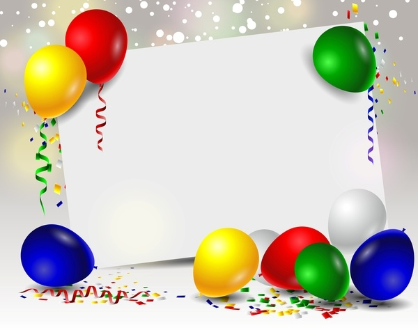 Birthday card with colored balloons and blank paper vector 01