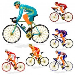 Cyclist with road bike vector illustration 05