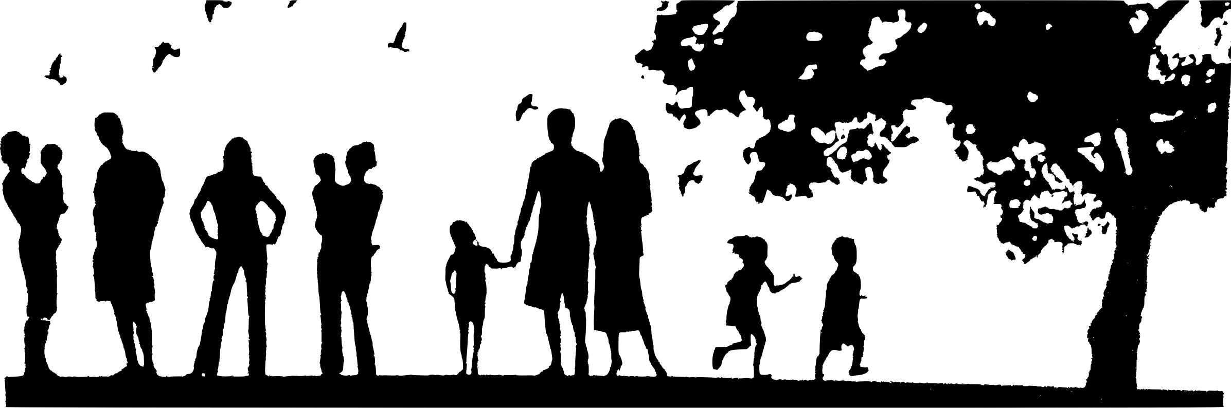Family Picnic Silhouette Icons PNG