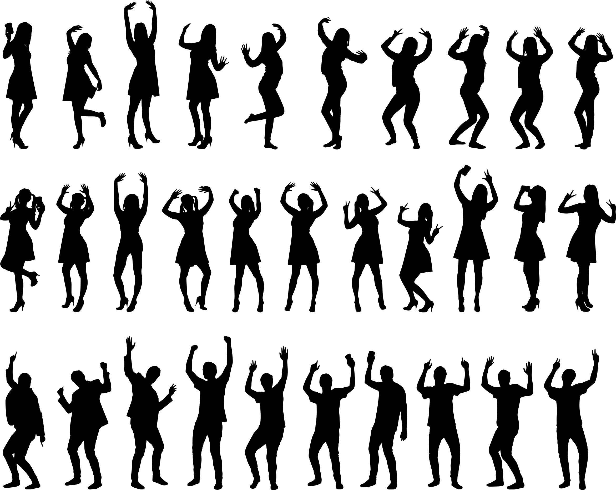 30 People Silhouettes Icons PNG
