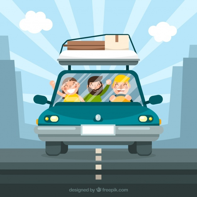 People travelling background in flat style