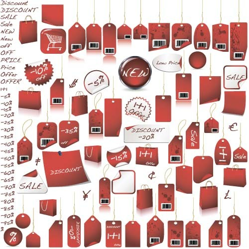 Red paper tags vector set