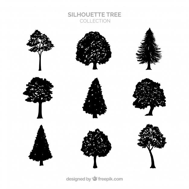 Silhouette tree collection